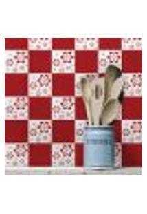 Adesivo De Azulejo Floral Vermelho 20X20 Cm Com 12Un