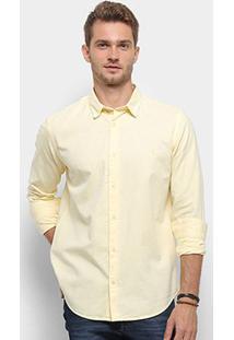 Camisa Manga Longa Reserva Regular Oxford Masculina - Masculino-Amarelo