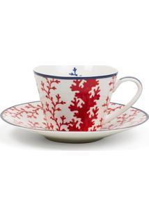 Xícara De Chá Le Lis Blanc Casa Coral Estampado (Estampado-Mare, Un)