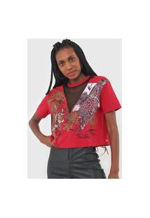 Camiseta Triton Recorte Tela Vermelha