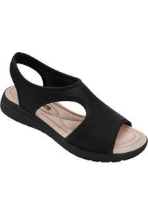 Sandália Comfortflex Preta Solado Em Borracha