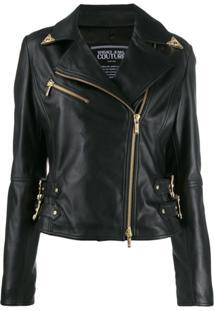 Versace Jeans Couture Jaqueta Biker Com Fivela Decorativa - Preto