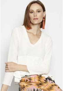 Blusa Texturizada Com Babados Sobrepostos - Off White