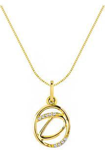 Pingente Letra D Ouro Amarelo E Diamantes 15 Mm