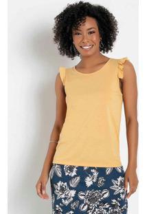 Blusa Com Babado Amarela Moda Evangélica
