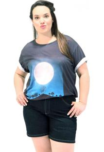 Camiseta Lua De Prata Plus Size Cinza