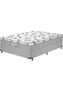 Cama Box Casal Firme Gray - Probel - Branco / Cinza