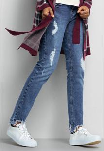 Calça Jeans Feminina Com Barra Destroyed Degrau Special Denim