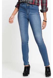 9b653d8414 ... Calça Jeans Com Faixa Lateral Azul Médio
