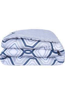 Edredom Casal Atlântica Sofisticata Premium Art Decó Algodão Azul