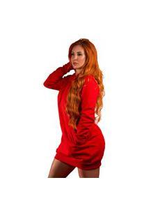 Vestido Blusão Moletom Liso Vermelho Tubinho Capuz E Bolso