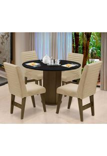 Conjunto De Mesa Para Sala De Jantar Com 4 Cadeira Turim-Dobue - Castanho / Preto / Bege Vlp Bordado