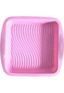 Forma De Silicone Quadrada Rosa 22 X 22 X 5 Cm