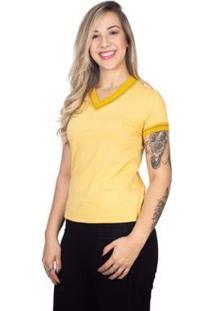 Camiseta Manga Curta Sanfonada 4Ás Feminina - Feminino-Amarelo