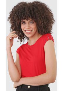 Blusa Marialícia Tachas Vermelha