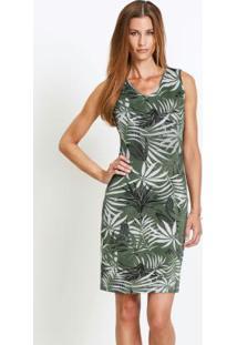 Vestido Básico Tubinho Floral Verde