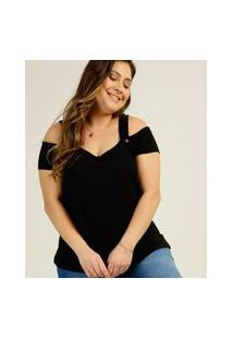 Blusa Plus Size Feminina Open Shoulder Manga Curta