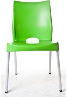 Cadeira Malba Base Fixa Pintada Cinza Cor Verde