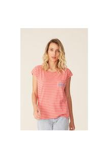 Camiseta Oneill Feminina Listrada Pocket Beach Club Rosa