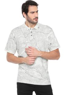 Camisa Polo Timberland Reta Maps Birch Off-White
