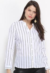 Camisa Social Facinelli Listras Feminina - Feminino-Branco