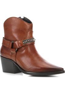 Bota Cano Curto Couro Shoestock Texas Feminina - Feminino-Caramelo