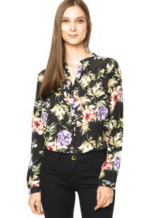 Camisa Dafiti Unique Floral Preta