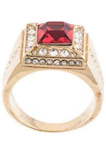 Dolce & Gabbana Crystal Set Square Ring - Dourado