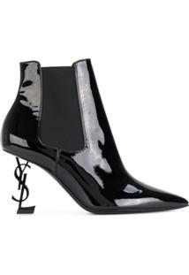 Saint Laurent Ankle Boot 'Opyum 85' De Couro - Preto