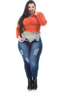 Calça Jeans Xtra Charmy Plus Size Skinny Euzenir Azul - Kanui