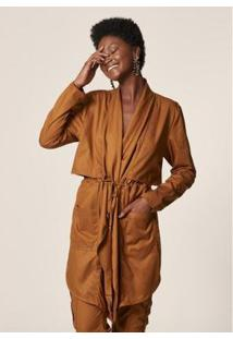 Mob Trench Coat Sarja Cordão Feminino - Feminino-Caramelo