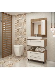Gabinete Para Banheiro Castanho Argel E Branco Lilies Móveis