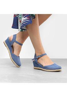 Sandália Anabela Via Uno Espadrille Jeans - Feminino-Jeans