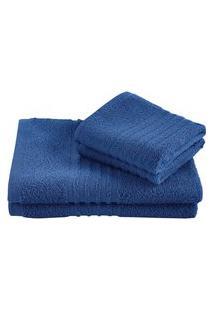 Jogo Toalha Felpuda De Banho Lepper Unique Algodão 3 Peças Azul