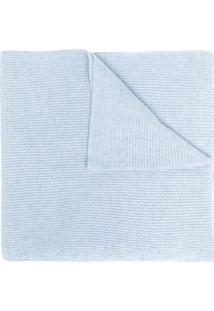 Ganni Cachecol De Tricô Com Patch De Logo - Azul