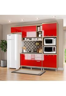 Cozinha Compacta 4 Peças Sicília 5828-S14 - Multimóveis - Argila / Vermelho