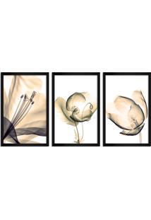 Quadro Oppen House 60X120Cm Flores Abstrato Transparentes Moldura Preta Estilo Raio-X Decorativo Interiores Mod:Oh003