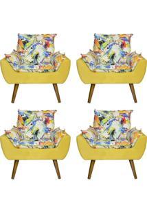 Kit 4 Poltronas Decorativas Kasa Sofá Opala Color Amarelo