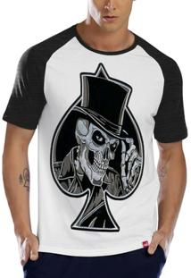Camiseta Raglan Caveira Coringa Espada - Masculino