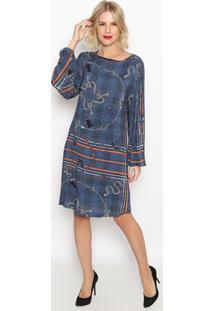 Vestido Alfinetes- Azul Escuro & Laranja- Forumforum