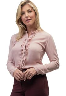 Camisa Crepe Mx Fashion Frufru Helen Rosê