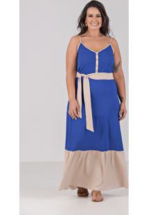 Vestido Tres Marias Em Viscolinho Com Lycra - Talento Plus Size Azul