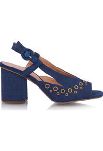 Luiza Barcelos Sandália Salto Médio Jeans - Azul