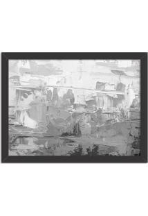 Quadro Decorativo Abstrato Moderno Cinza Preto - Médio