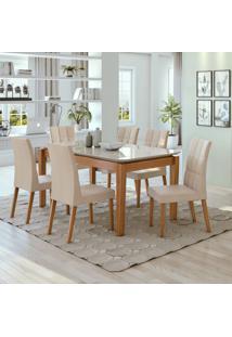 Conjunto De Mesa De Jantar Áries Com 6 Cadeiras Estofadas Odara Linho Off White E Bege