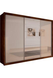 Guarda-Roupa Casal Com Espelho 3 Portas Paradizzo Gold- Novo Horizonte - Canela / Off White