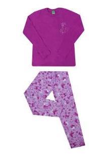 Pijama Longo Gatinha Em Strass Malwee (3228) 100% Algodão