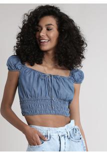 Blusa Jeans Feminina Cropped Ombro A Ombro Manga Curta Azul Médio