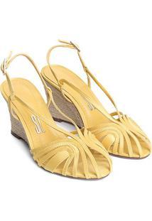 Sandália Santa Lolla Anabela Cetim - Feminino-Amarelo