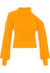 Blusa Feminina Tricot Decote Ombro - Amarelo